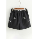 Fashion Embroidery Fox Pattern Elastic Waist Loose Shorts