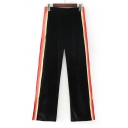 Chic Color Block Striped Side Elastic Waist Split Side Wide Leg Pants
