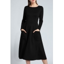 Simple Plain Round Neck Long Sleeve Fit and Flare Midi Dress with Pockets