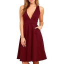 Chic Plain Deep V-Neck Zippered Back Sleeveless A-line Midi Dress