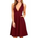 Chic Plain Deep V-Neck Zippered Bacl Sleeveless Swing Midi Dress
