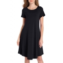 Simple Plain Round Neck Short Sleeve Asymmetric Hem T-shirt Mini Dress