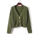 New Stylish Single Breasted V-Neck Long Sleeve Plain Cardigan