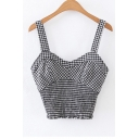 New Stylish Classic Plaid Fitted Cropped Cami