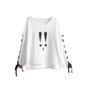 New Fashion Cartoon Print Boat Neck Crisscross Side Long Sleeve Pullover Sweatshirt