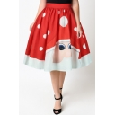 New Arrival Cartoon Santa Claus Pattern High Waist Midi Flared Skirt
