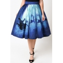 Hot Popular Digital Moon Santa Claus Printed Midi A-Line Flared Skirt