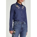 Chic Floral Embroidered Lapel Collar Long Sleeve Buttons Down Denim Shirt