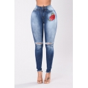 New Fashion Rose Embroidered Ripped Knee Raw Edge Skinny Jeans
