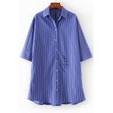 Classic Striped Pattern Lapel Collar Casual Loose Tunic Buttons Down Shirt