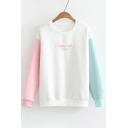 Simple Letter Embroidered Color Block Long Sleeve Round Neck Sweatshirt