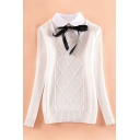 New Stylish Fake Two-Piece Collared Tie Front Long Sleeve Textured Detail Sweater