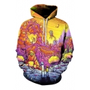 Hot Popular Long Sleeve 3D Cartoon Pattern Loose Leisure Hoodie for Couple