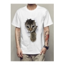 New Trendy Cat Print Round Neck Short Sleeve Loose Top