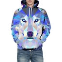 Color Block Cartoon Wolf Print Long Sleeve Hoodie