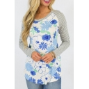 Color Block Ribbed Raglan Shoulder Floral Pattern Long Sleeve Top