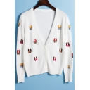 New Arrival Cartoon Shoes Embroidered V-Neck Buttons Down Long Sleeve Cardigan