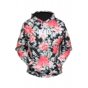 New Stylish Floral Print Drawstring Hood Pocket Long Sleeve Hoodie
