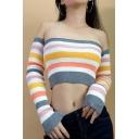 Chic Color Block Stripe Print Off Shoulder Long Sleeve Crop Pullover Sweater