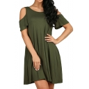 Simple Plain Round Neck Cold Shoulder Short Sleeve Mini T-shirt Dress with Pockets