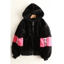New Stylish Color Block Letter Print Drawstring Hood Long Sleeve Coat