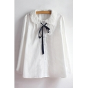 Chic Cut out Collared Bow Tie Embellished Long Sleeve Plain Shirt