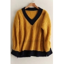 Color Block V-Neck Ripped Out Long Sleeve Pullover Sweater