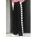 New Arrival Fashion Heart Striped Pattern Side Loose Wide Legs Sports Pants