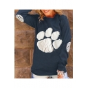 Color Block Bear Claw Paw Long Sleeve Leisure Pullover Sweatshirt