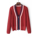 Color Block V-Neck Zippered Long Sleeve Cardigan