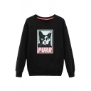 Color Block Cartoon Cat Printed Round Neck Long Sleeve Pullover Sweatshirt