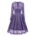 New Fashion V-Neck Floral Lace-Up Long Sleeve Midi Fit & FlareDress