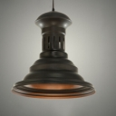 Industrial Pendant Light with Metal Shade in Black