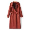 New Stylish Notched Collar Belted Waist Plain Tunic Coat