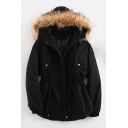 New Stylish Faux Fur Hood Drawstring Waist Split Back Plain Coat