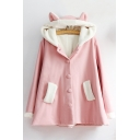New Fashion Color Block Rabbit's Ears Embellished Hooded Long Sleeve Wool Coat