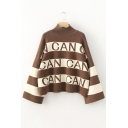 New Fashion High Neck Long Sleeve Color Block Letter Pattern Sweater