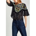 New Arrival Round Neck Half Sleeve Chic Embroidered Pullover Blouse