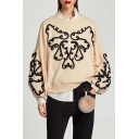 Round Neck Long Sleeve Casual Loose Oversize Fashion Pattern Pullover Sweatshirt