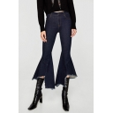 New Fashion Zipper Fly Raw Hem Asymmetric Flared Jeans