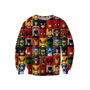 Super Heroes 3D Print Check Panel Long Sleeve Pullover Sweatshirt