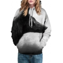 New Stylish Casual Sports Digital Wolf Pattern Long Sleeve Hoodie