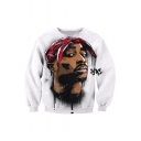 Color Block Portrait 3D Print Long Sleeve Pullover Sweatshirt