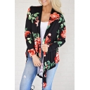 New Stylish Opulent Bloom Print Long Sleeve Kimono Coat