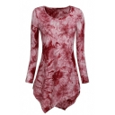 Floral Pattern Dip-Dye Asymmetric Hem Round Neck Long Sleeve Short Dress