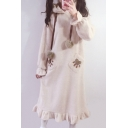 New Fashion Puff Hooded Elastic Cuff Long Sleeve Maxi Sleep Dress