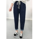 New Stylish Drawstring Waist Leisure Straight Leg Pants