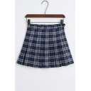 New Stylish Classic Plaid Zip Fly Mini Pleated Skirt