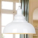 Industrial Pendant Light with 14.17''W Metal Shade in White