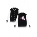Cute Cartoon Unicorn Print Stand-Up Collar Long Sleeve Unisex Baseball Jacket